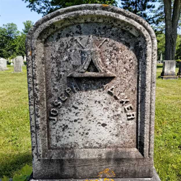 Joseph Walker's grave stone in Evergreen Cemetery has a wonderful tent on it symbolizing his membership in the Odd Fellows.