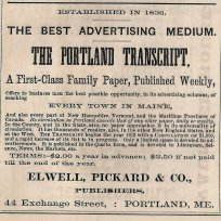 Portland Transcript advertisement from the 1873 Portland City Directory. Author's collection.