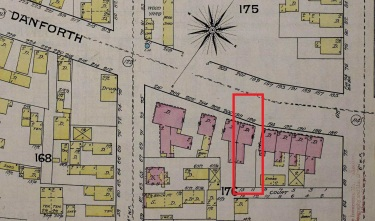 196 Danforth Street on the Sanborn Insurance map of 1886. Library of Congress.