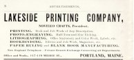 Lakeside Printing advertisement from the 1910 city directory. Authors collection.
